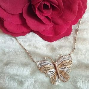 "Jewelry - ""Butterfly Necklace"" REAL"" Gold, over Sterling. SS"